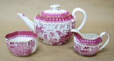 Pink Willow Copeland Spode England Demitasse Set Teapot c.1895-1920