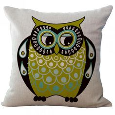 Cartoon Color Big Eyes Owl Series Linen Waist Pillow Case Home Kids Room Bedside Backrest Pillowcase Square #Affiliate