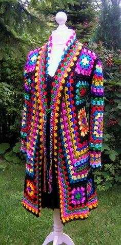 Mäntel - Hippie Häkeljacke Mantel Granny bunt 38/40 - ein Designerstück von strickmaus bei DaWanda