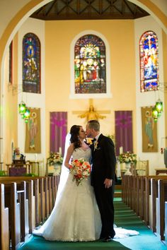 Bride and Groom Wedding Catholic Ceremony at Tampa Wedding Venue Our Lady of Perpetual Help Wedding Groom, Wedding Ceremony, Wedding Venues, Davis Island, Catholic Wedding, Garden Club, Coral Blue, Our Lady, Wedding Portraits
