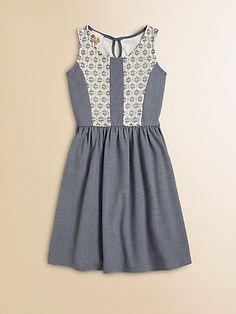 Kiddo - Girl's Denim Lace Dress - Saks.com