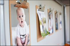 shared boys room.Big Brother (4 years old) gets to pick the pictures that go on his clipboards. I love that he wanted one of his baby sister.