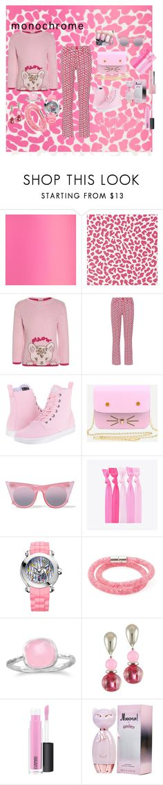 """""""monochromatic pink"""" by wendy-collins-1 ❤ liked on Polyvore featuring Designers Guild, Dr. Martens, WithChic, Le Specs, Popband, Chopard, Swarovski, BillyTheTree and MAC Cosmetics"""
