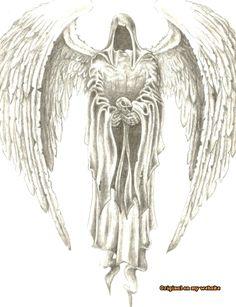 New Dark Art Drawings Demons Death Grim Reaper Ideas Dark Angel Tattoo, Dark Art Tattoo, Angels Tattoo, Reaper Drawing, Kunst Tattoos, Bild Tattoos, Body Art Tattoos, Grim Reaper Art, Skull Art