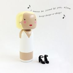 Marilyn Monroe is added to the kokeshi dolls family. This lovely lady, also handpainted by the talented Sketchinc. in on stock in our shop.