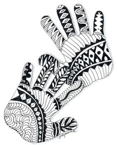 zentangle hands.  I did something like this in my art journal to record my hand at my 50th birthday.