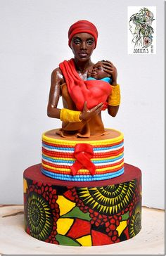 Hi, here is my small contribution for the Getting to Zero collaboration. There is no story behind the piece, she is an average, strong, fierce and brave African mum. Modeling chocolate and fondant. Thank you for Zawadi Parizek for this great. Gorgeous Cakes, Pretty Cakes, Cute Cakes, Amazing Cakes, Unique Cakes, Creative Cakes, Africa Cake, African Wedding Cakes, Jungle Cake
