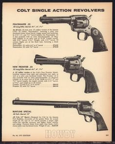 1973 COLT Peacemaker & New Frontier .22 Buntline Special Revolver PRINT AD