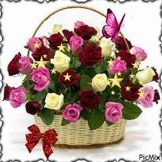 Roses basket - flower delivery to Greece with local florists Flowers Gif, Beautiful Bouquet Of Flowers, Beautiful Roses, My Flower, Beautiful Flowers, Happy Birthday Flower, Rose Arrangements, Local Florist, Flower Boxes