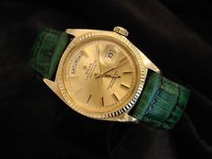 Mens Rolex Day-Date President 18k Yellow Gold Green Leather w/Gold Dial 1803 #Rolex #LuxuryDressStyles