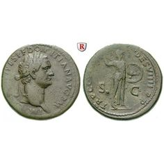 Römische Kaiserzeit, Domitianus, Sesterz 81-82, ss: Domitianus 81-96. Messing-Sesterz 33 mm 81-82 Rom. Kopf r. mit Lorbeerkranz IMP… #coins