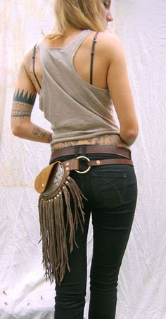 Leather fanny pack with dramatic fringe