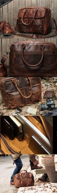 4beec1ed0aa Handmade leather men Briefcase messenger large vintage shoulder Schoudertas  Voor Mannen, Laptoptas, Laptoptassen,