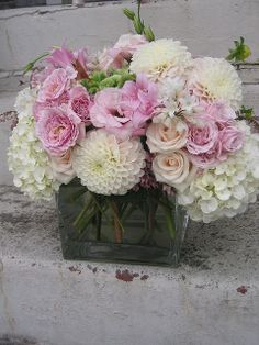 floral arrangement roses hydrangea dahlias sweet soft pink white cream