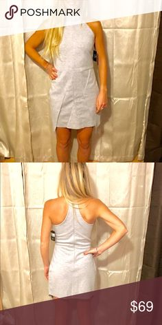 Party Dress! Super cute gray party dress with a high neckline! Zips up the back and is very flattering!                Australian brand: Evil Twins. Evil Twin Dresses Mini