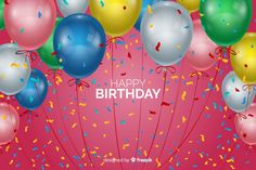 Happy birthday balloons background Free Vector | Free Vector #Freepik #vector #freebackground #freebirthday #freeinvitation #freehappy-birthday First Birthday Cards, 90th Birthday, Birthday Celebration, Birthday Wishes, Birthday Invitations, First Birthdays, Balloon Background, Party Background, Birthday Background