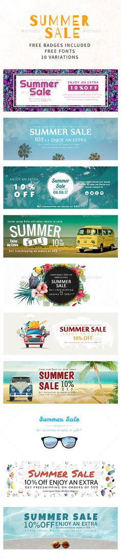 Summer Sale Banners - #Banners & Ads #Web Elements Download here: https://graphicriver.net/item/summer-sale-banners/20059716?ref=alena994
