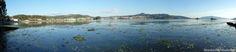 Salinas de Ulló. Vista de Paredes, Pontesampaio y Arcade desde el paseo que bordea a las marismas. A la derecha de la imagen puede verse también el Puente de Rande  Más info: http://www.naturalezasobreruedas.com/2015/02/las-salinas-de-ullo-vilaboa.html