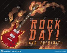 Blazing electric guitar in a stage, ready to celebrate Rock Day everyday. Rock N Roll, Stage, Electric, Guitar, Celebrities, Day, Illustration, Music, Musica