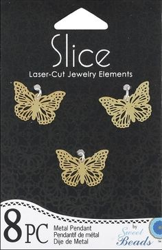 Shop   Category: Charms   Product: Slice Pendant Metal Small Butterfly Gold 8 piece