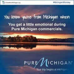 You know you're from Michigan when: You get a little emotional during @Pure Michigan commercials.
