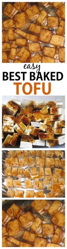 Hands down, the best (and easiest!) baked tofu ever- A delicious marinade and cooking method makes it an absolute hit- Vegan, gluten free and very low carb! #recipe #healthy #meal
