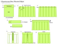 Chartreuse Box Pleated Skirt by Bunny Baubles Blog Instructions