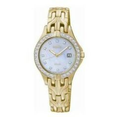 Review Seiko SUT086 Womens Solar Gold Tone Stainless Steel Case and Bracelet Mother of Pearl Dial Crystals Watch Sale - Gold tone stainless steel case and bracelet Brushed and polished bracelet Crystals on the bezel and...
