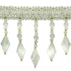 Expo Int'l 2 yards of Rosalie Diamond Bead Fringe Trim, Beige Tassel Curtains, Fringe Trim, Fringes, Lampshades, Tassel Necklace, Off White, Embellishments, Drop Earrings, Beads