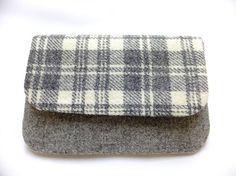 Clutch Bag in Harris Tweed Grey by cairngormbags on Etsy, £23.00