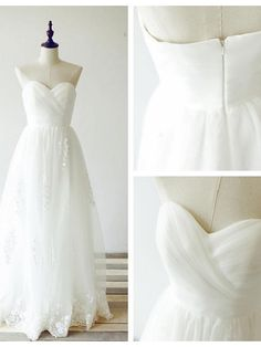 A-line Wedding Dress - Ivory Floor-length Sweetheart Lace / Tulle - USD $129.99