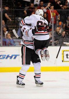 So cute ^^ Marion Hossa & Patrick Kane  Chicago Blackhawks