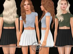 Set of a simple crop top with a knot and a short, high waisted skater skirt. Found in TSR Category 'Sims 3 Female Clothing Sets'