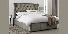 Buy Elise King bed with 2 storage drawers Classic Velvet French Grey from the Next UK online shop