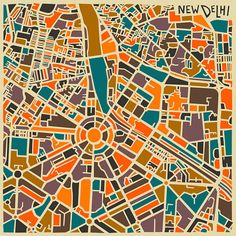 Jazzberry-abstract-city-map-NewDelhi Toronto-based self-taught artist Jazzberry Blue has created this series of abstract city map posters, the series features different cities and capitals… Delhi Map, New Delhi, Delhi City, Delhi India, Illustration Design Graphique, City Illustration, City Map Poster, Map Posters, Abstract City