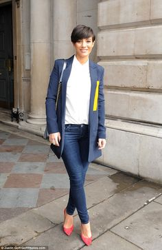 Pregnant Frankie Bridge was one of the first stars to put on a chic sartorial display at London Fashion Week on Friday morning | Step out in style in Frankie's coral Topshop courts, £42