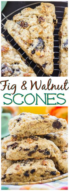 Simple Walnut & Fig Scones – The Gold Lining Girl Walnut & Fig Scones thegoldlininggirl… recipe image pin Breakfast Scones, Breakfast Recipes, Dessert Recipes, Breakfast Sandwiches, Breakfast Pizza, Breakfast Cookies, Baking Scones, Savory Scones, Healthy Scones