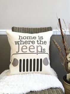 Home Is Where the Jeep Is Pillow - Cotton Canvas - Toggle and Loop Closure - Gift for Adventurers - Jeep Wrangler Lover - Jeep Decor : 18 Home Is Where the Jeep Is Pillow Cotton by lovingLeighYours
