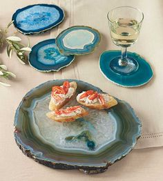 Agate Plates and Coasters. Agate and Geode Home Decor Ideas We Love at Design Connection, Inc. | Kansas City Interior Design http://www.designconnectioninc.com/blog #InteriorDesign