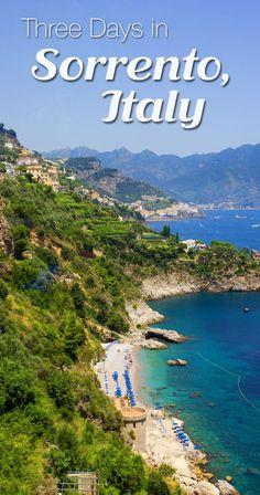 Amalfi coast Three days in Sorrento, Italy. Visit Capri, the Blue Grotto, Pompeii, and the Amalfi Coast with Sorrento as a home base. What Sorrento is like in July. Sorrento Italia, Sorrento Capri, Sorrento Beach, Italy Vacation, Vacation Destinations, Dream Vacations, Italy Trip, Italy Honeymoon, Italy Tours