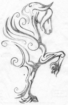 My latest horse logo design. Here is the rough pencil drawing. The design is of a high trotting feathered-leg horse with a flowing mane and forelock.