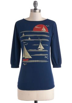 All's Fair in Love and Wharf Tee. Feel like youre sailing off into the sunset every time you wear this graphic tee by Blue Platypus. #blue #modcloth