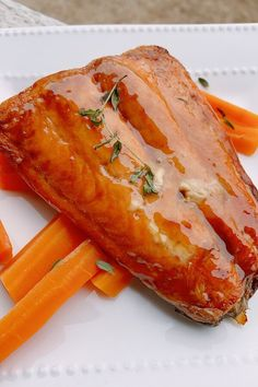 """Air Fryer Salmon with Maple-Bourbon Glaze 