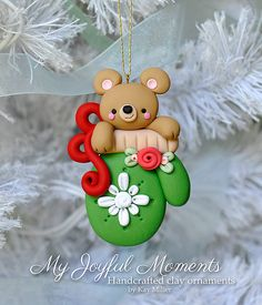 Handcrafted Polymer Clay Bear in a Mitten by MyJoyfulMoments