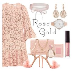 Sweet Rose Gold by fanninuneno on Polyvore   #polyvore #cute #fashion #dress #rosegold featuring Valentino, Chanel, Boohoo, Olivia Burton, Suzanne Kalan, Laura Mercier, Bulgari and rosegold