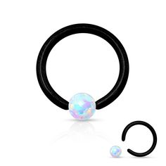 "Opal Stone Black anodized Over Surgical Steel Captive Bead Ring Specifications: * 16ga * Black over 316L Surgical Stainess Steel * White Opal Stone * 5 /16"" hoop * 3mm ball"