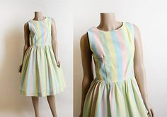 Vintage 1960s Dress Striped Pastel Candy Colored Rainbow