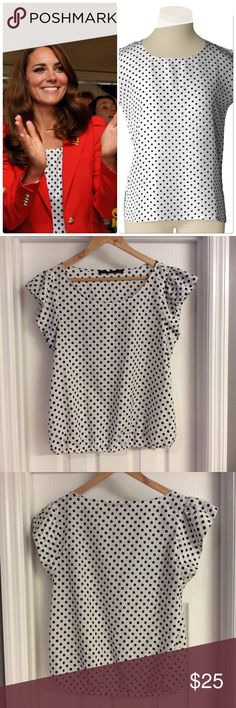 Zara Navy Blue Polka Dot Blouse As seen on Kate Middleton, beautiful Blouse! Closet must have! Excellent condition! Zara Tops Blouses