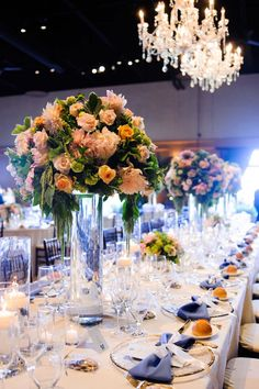 Glass cylinders make conversation across the wedding tables easy | Amazáe Events, Paul Robertson Floral Design