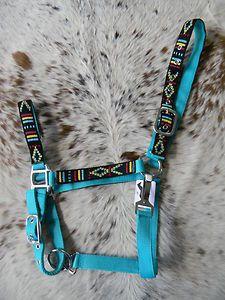 Hot Teal Nylon Horse Halter Colorful Navajo Overlay Halter New Horse Tack | eBay